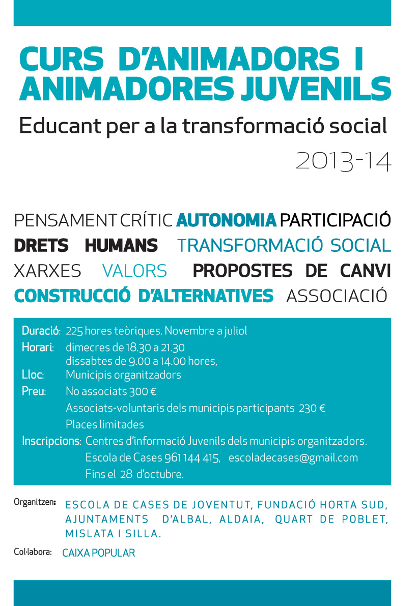 Curs Animadors/as, Nova data, inscripcions
